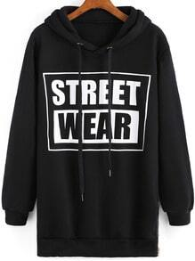 Black Hooded STREET WEAR Print Sweatshirt