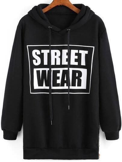 Black Hooded STREET WEAR Print Sweatshirt