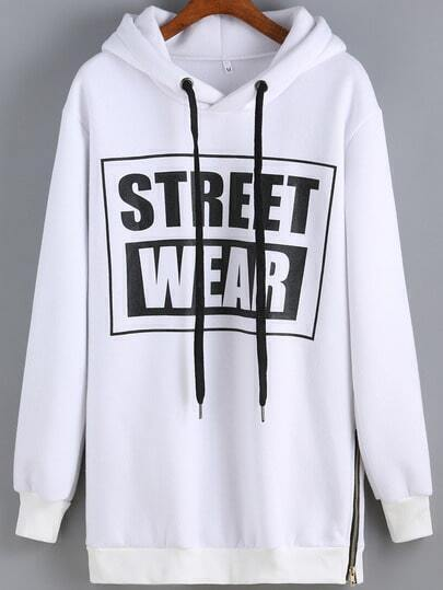 White Hooded STREET WEAR Patterned Print Sweatshirt