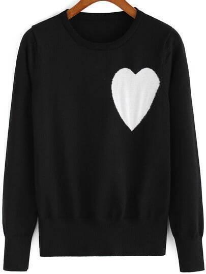 Black Round Neck Heart Pattern Knit Sweater