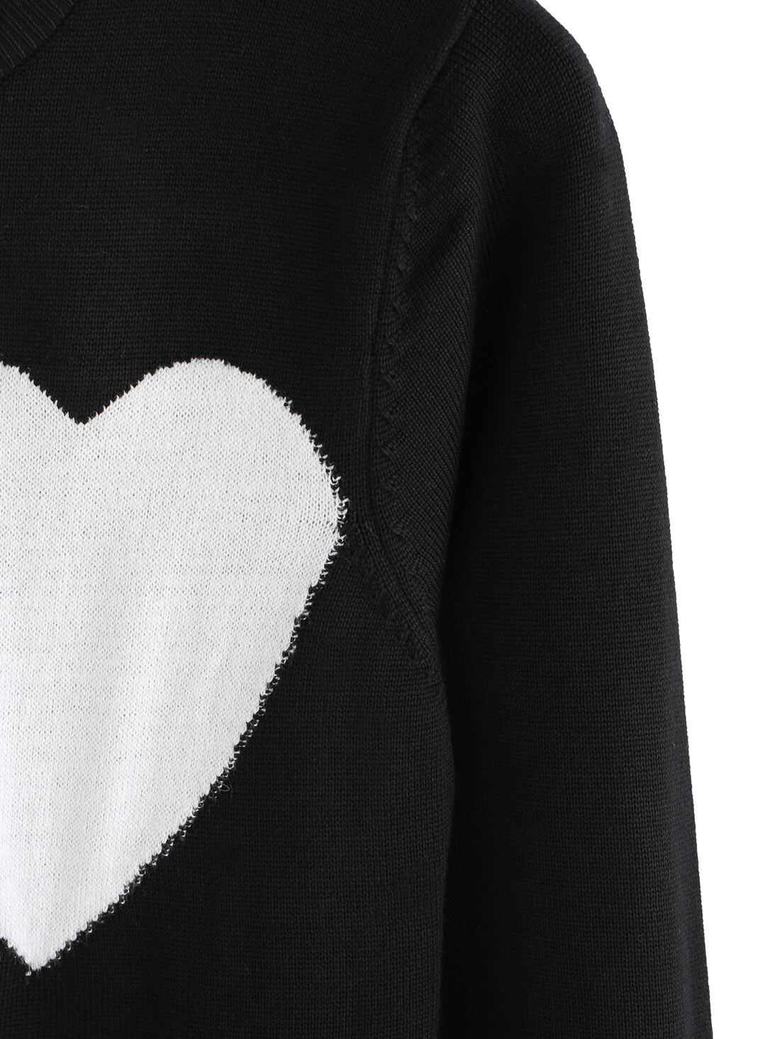 Black Round Neck Heart Pattern Knit Sweater -SheIn(Sheinside)
