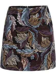 Multicolor Slim Leaves Print Skirt