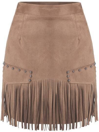 Camel Slim Tassel Bead Skirt