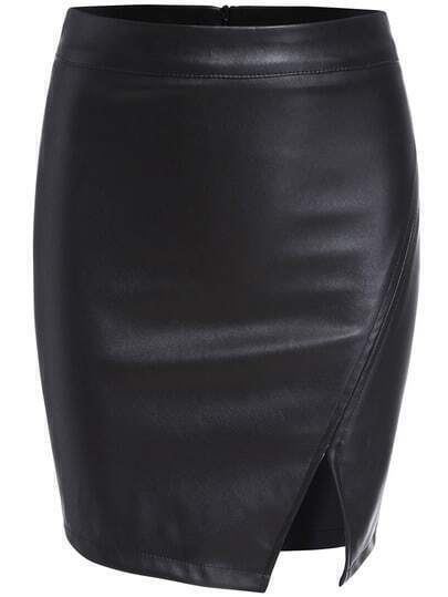 Black Split Bodycon PU Skirt