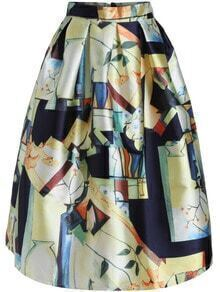 Multicolor High Waist Leaves Print Skirt