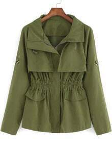 Army Green Long Sleeve Casual Trench Coat