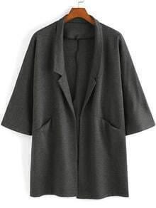 Grey Casual Lapel Pockets Loose Coat