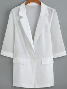 White Notch Lapel Chiffon Loose Blazer