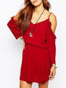 Red Ruby Cold Shoulder Sophisticated Glamorous Ruffle Dress