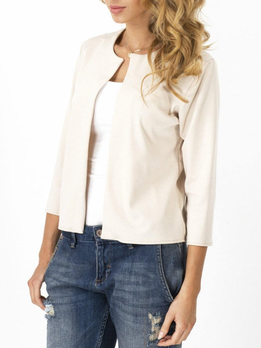 White Open Front Slim Blazer