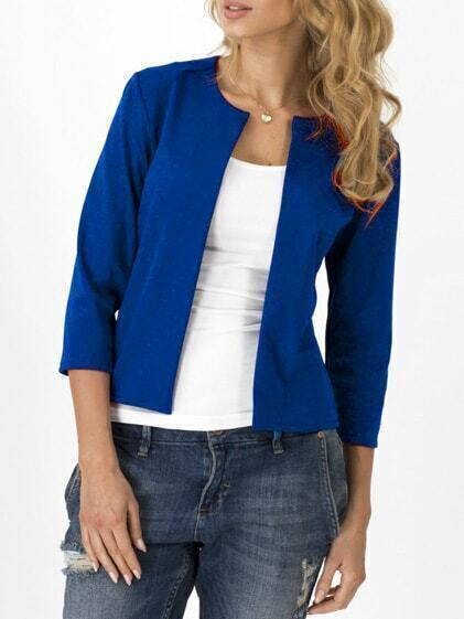 Blue Open Front Slim Blazer