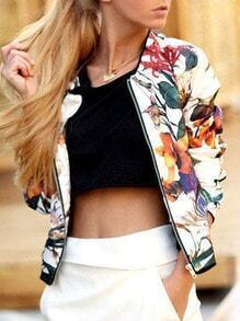Multicolor Florals Zipper Jacket
