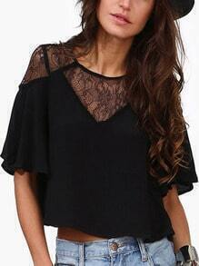 Black Ruffle Sleeve Lace Insert Top