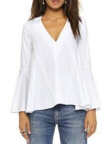 White V Neck Bell Sleeve Top