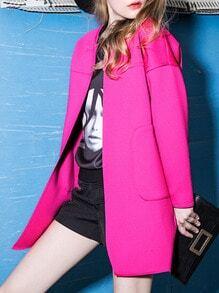 Rose Red Long Sleeve Pockets Coat