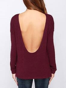 Wine Red Long Sleeve Open Back T-Shirt