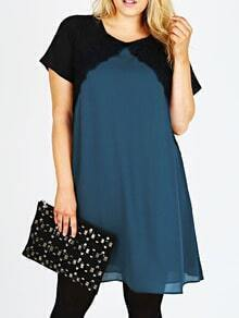 Color-block Short Sleeve Lace Insert Plus Dress