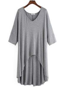 Grey V Neck Dip Hem Plus T-shirt
