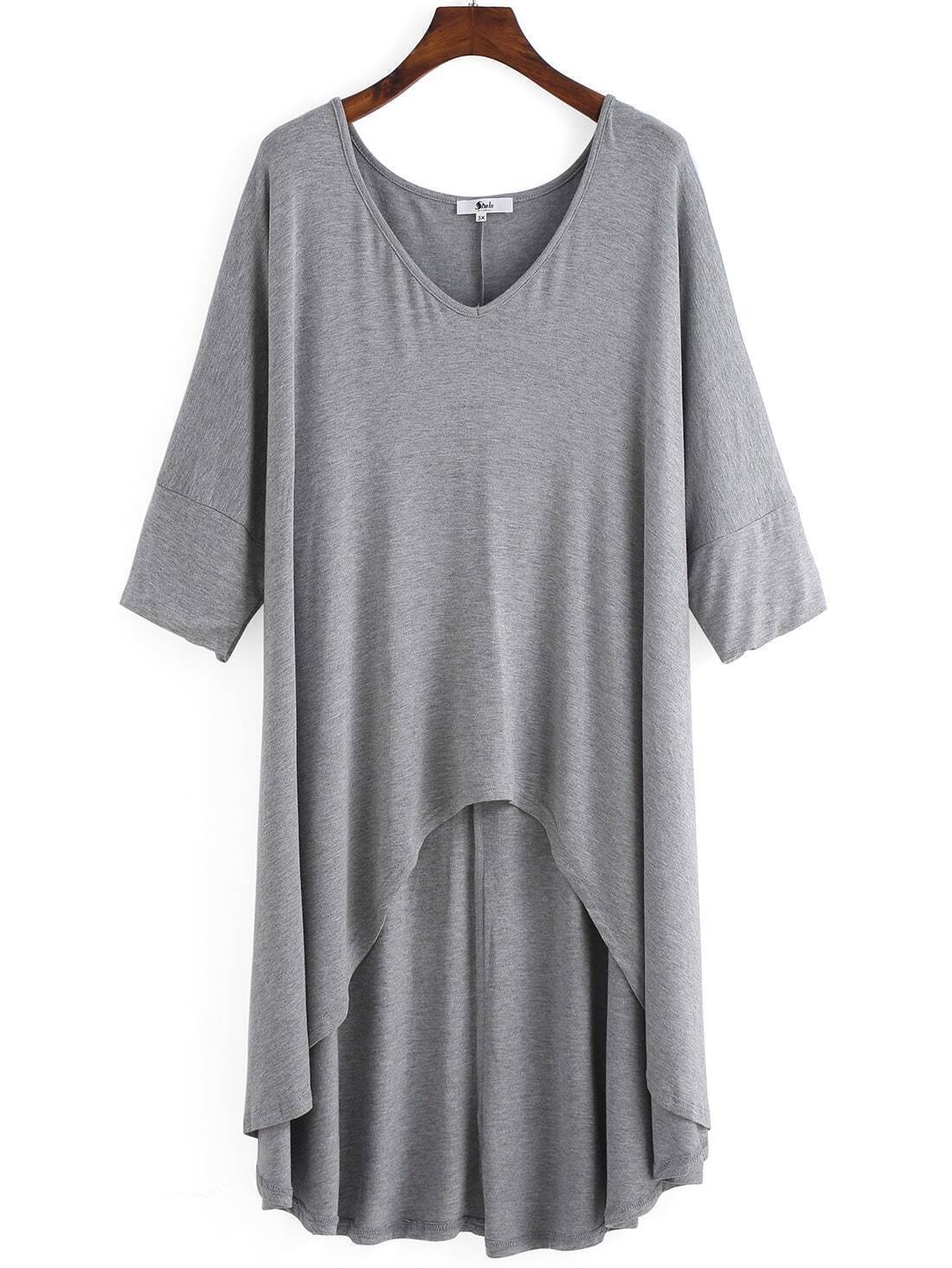 Grey V Neck Dip Hem Plus Size T-shirt