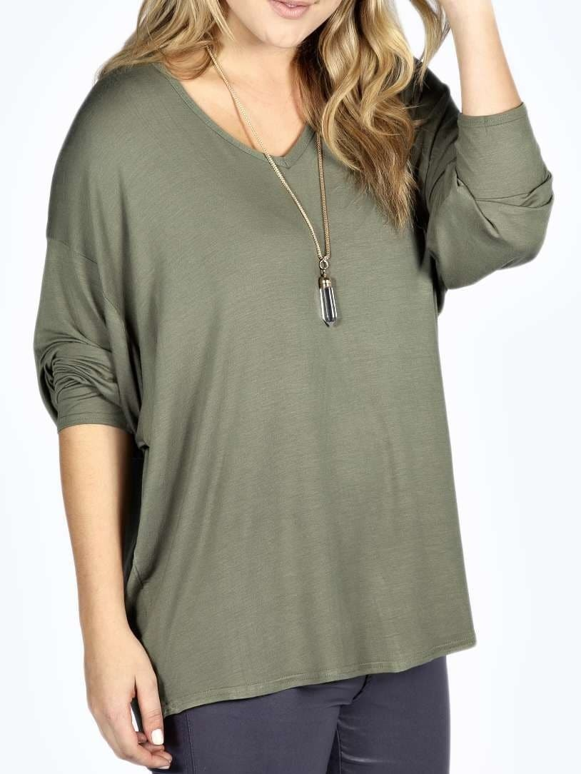 Army Green V Neck Long Sleeve Plus T-shirt