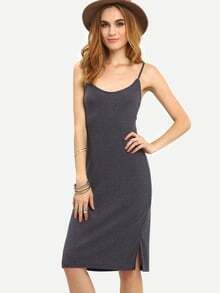 Grey Charcoal Slipdresses Spaghetti Strap Backless Ribbed Dress