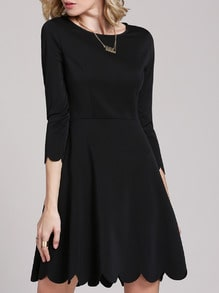 Black Round Neck Minimalist Simple Ruffle Designs Drop Waist Dress