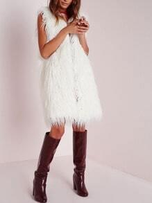 White Sleeveless Faux Fur Coat