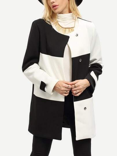 White Black Long Sleeve Color Block Coat pictures