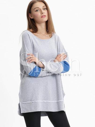 Grey Round Neck Color Block Sweatshirt