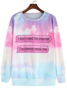 Multicolor Long Sleeve Patterns Letters Print Sweatshirt