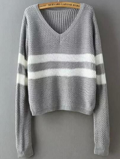 Grey V Neck Striped Crop Sweater