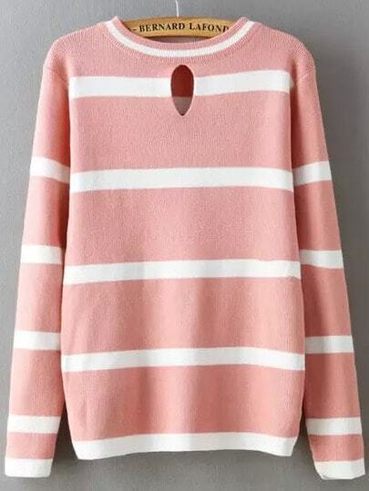 Pink White Round Neck Striped Loose Knit Sweater
