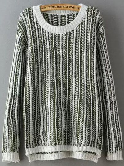 Round Neck Sweater Knitting Pattern : Grey White Round Neck Wheat Pattern Knit Sweater -SheIn(Sheinside)
