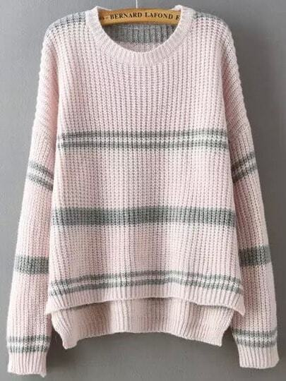 Pink Round Neck Striped Dip Hem Sweater