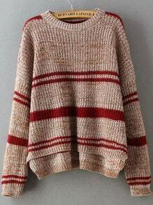 Khaki Round Neck Striped Dip Hem Sweater