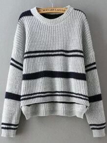 Light Grey Round Neck Striped Dip Hem Sweater