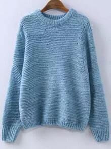 Blue Round Neck Hollow Knit Sweater