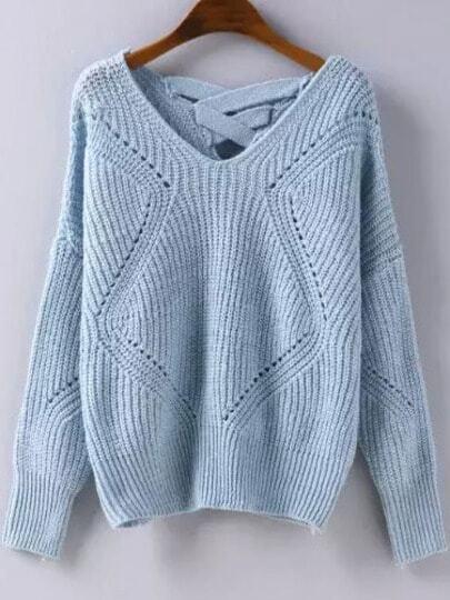 Blue Geometric Pattern Hollow Knit Sweater -SheIn(Sheinside)