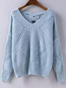 Blue Geometric Pattern Hollow Knit Sweater