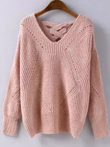 Pull tricoté effet ajouré motif géométrique -rose