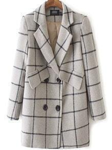 Grey Lapel Double Breasted Plaid Coat