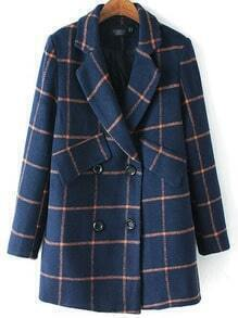 Navy Lapel Double Breasted Plaid Coat
