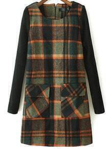 Multicolor Round Neck Plaid Pockets Woolen Dress