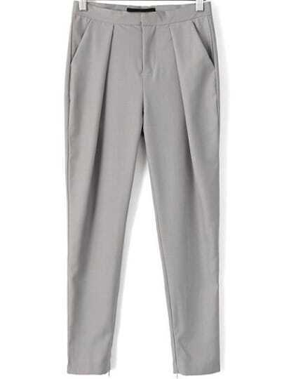 Grey Casual Pockets Pant