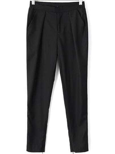 Black Casual Pockets Pant