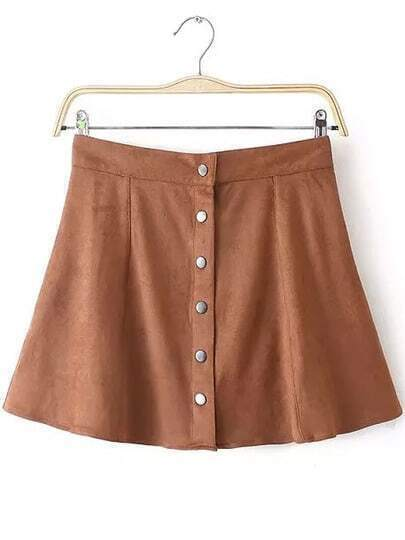 Khaki Vintage Buttons Skirt