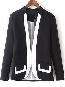 Colour-block Long Sleeve Fitted Blazer