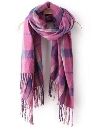 Purple Plaid Tassel Classical Scarve