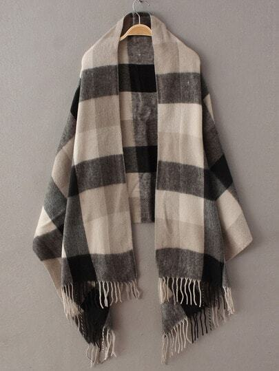 Black Grey Plaid Tassel Classical Scarve