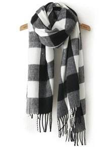Black White Plaid Tassel Classical Scarve